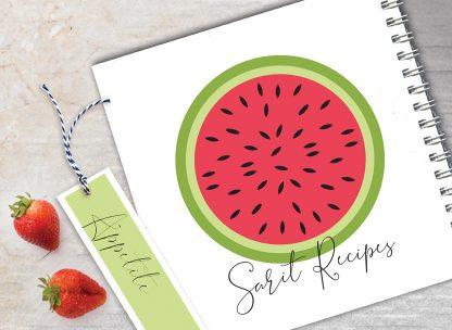 מחברת מתכונים אישיים מעוצבת, עם שם + סימניה, בעיצוב פירות - אבטיח