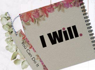 """מחברת השראה אישית, מלאה בעוצמות חיוביות, עם שם ומשפט השראה:  """"I WILL"""", בתוספת סימניה ממותגת"""