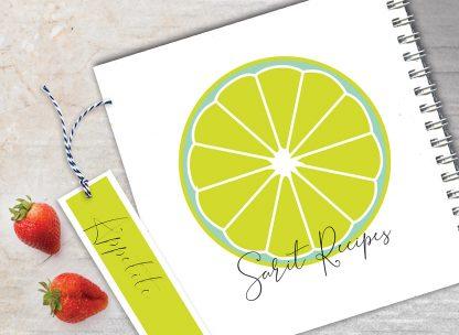 מחברת מתכונים אישיים מעוצבת, עם שם + סימניה, בעיצוב פירות - לימון