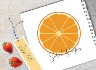 מחברת מתכונים אישיים מעוצבת, עם שם + סימניה, בעיצוב פירות - תפוז