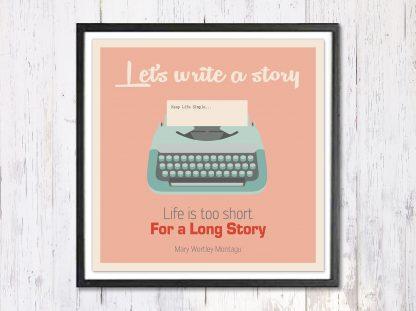 Lets Write a Story - תמונת רטרו, להדפסה עצמית