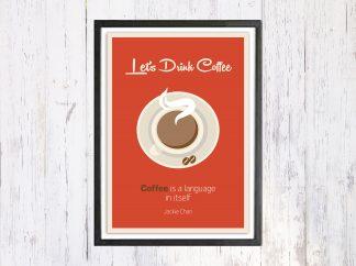 Lets Drink Coffee - תמונת רטרו, להדפסה עצמית