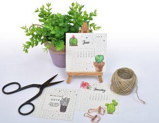 לוח שנה אישי 2020 להדפסה עצמית, 12 לוחות חודשיים, אישיים, עם סימון תאריכים חשובים
