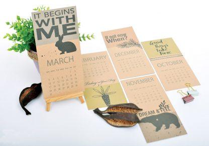 לוח שנה, לוח שנה דגם משפטים עם חשיבה חיובית, מודפס על קרטון קראפט חום