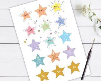 מדבקות כוכבים דקורטיביות, 15 מדבקות צבעוניות | גודל 5 ס״מ מודפס על נייר מדבקות