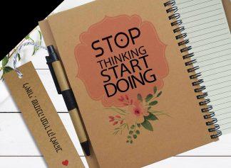 מחברת העצמה אישית בתוספת שם, עם משפט: Stop Thinking Start Doing