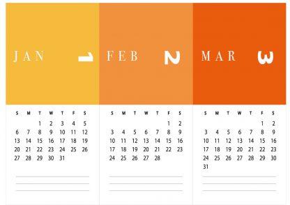 לוח שנה 2020, בעיצוב אישי עם הקדשה, דגם צבעי פנטון