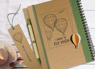 מחברת מסע עם סימניית כדור פורח תלת-מימדי, Fly High