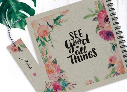 מחברת מטרות אישית, בעיצוב פרחוני, ״See Good In All Things״