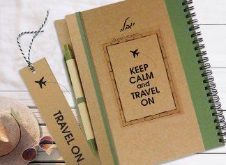 מחברת נסיעות אישית מעוצבת, יומן מסע - Keep Calm And Travel On, מחברת בתוספת עט