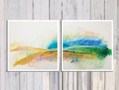 ציור נוף במשיכות של צבע - הדפס על קנבס