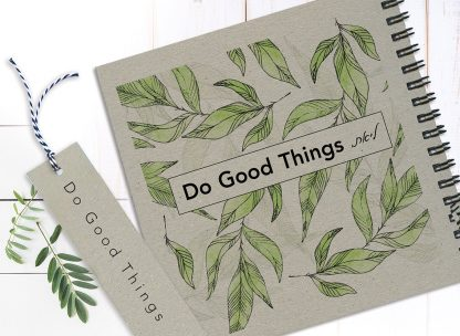 """מחברת ״מטרות״ אישית, מעוצבת באיורי עלים, עם משפט השראה: """"Do Good Things"""""""
