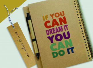 """מחברת מתנה ממותגת, ספירלת נחושת, עם שם ומשפט העצמה אישית: """"If You Can Dream it, You Can Do it"""""""