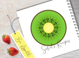 מחברת מתכונים אישיים מעוצבת, עם שם + סימניה, בעיצוב פירות - קיווי