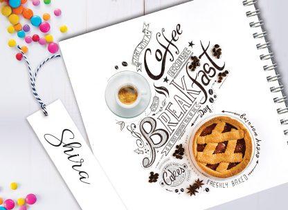 מחברת מתכוני ארוחת בוקר מעוצבת, בתוספת שם, בעיצוב ״BREAKFAST״