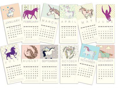 לוח שנה אישי עם שם, הקדשה וציון תאריכים מיוחדים, לוח שנה דגם חד קרן