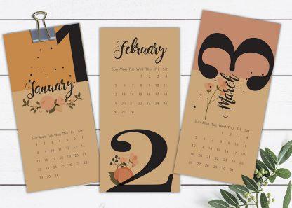לוח שנה, לוח אישי מעוצב, דגם פרחים ומספרים