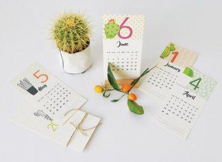 לוח שנה מעוצב אישי בתוספת הקדשה וציון תאריכים מיוחדים - דגם קקטוסים