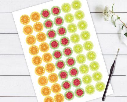 מדבקות למסיבות עם ציורי פירות, להדבקה על כוסות וקשים