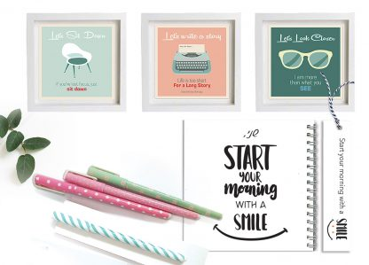 קולקצית רטרו אישית - סט מתנה הכולל: 3 הדפסי תמונות בסגנון רטרו למסגור, מחברת ועט תואם