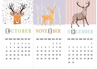 לוח שנה, לוח אישי עם הקדשה וציון תאריכים מיוחדים, לוח שנה דגם איילים