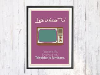 Lets Watch TV - תמונת רטרו, להדפסה עצמית