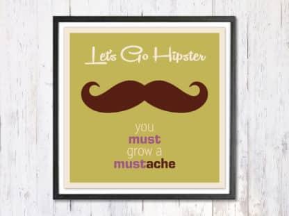 Lets Go Hipster - תמונת רטרו, להדפסה עצמית