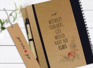 """מחברת מתנה למורה, עם שם ומשפט השראה: """"Without Teachers Life Would Have No Class״"""