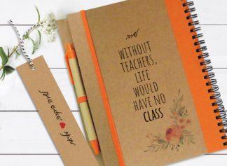 """מחברת אישית למורה, עם שם ומשפט השראה: """"Without Teachers Life Would Have No Class״"""