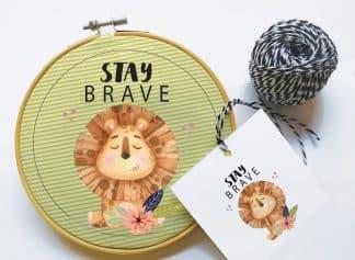 חישוק בד לחדר הילדים. דגם Be Brave
