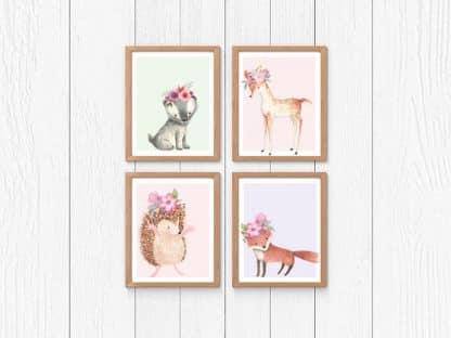 סט 4 תמונות לחדר ילדים, חיות יער אהובות