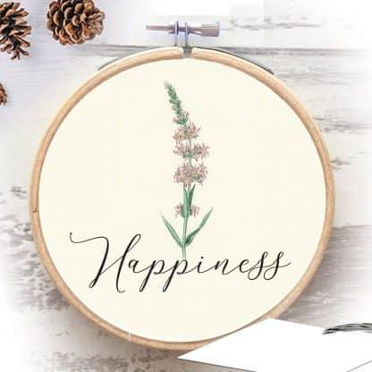 Happiness חישוק רקמה עם מילת השראה